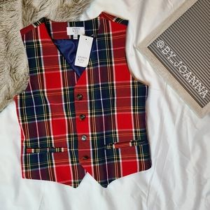 《CROWN AND IVY》 Tartan Red and Green Vest
